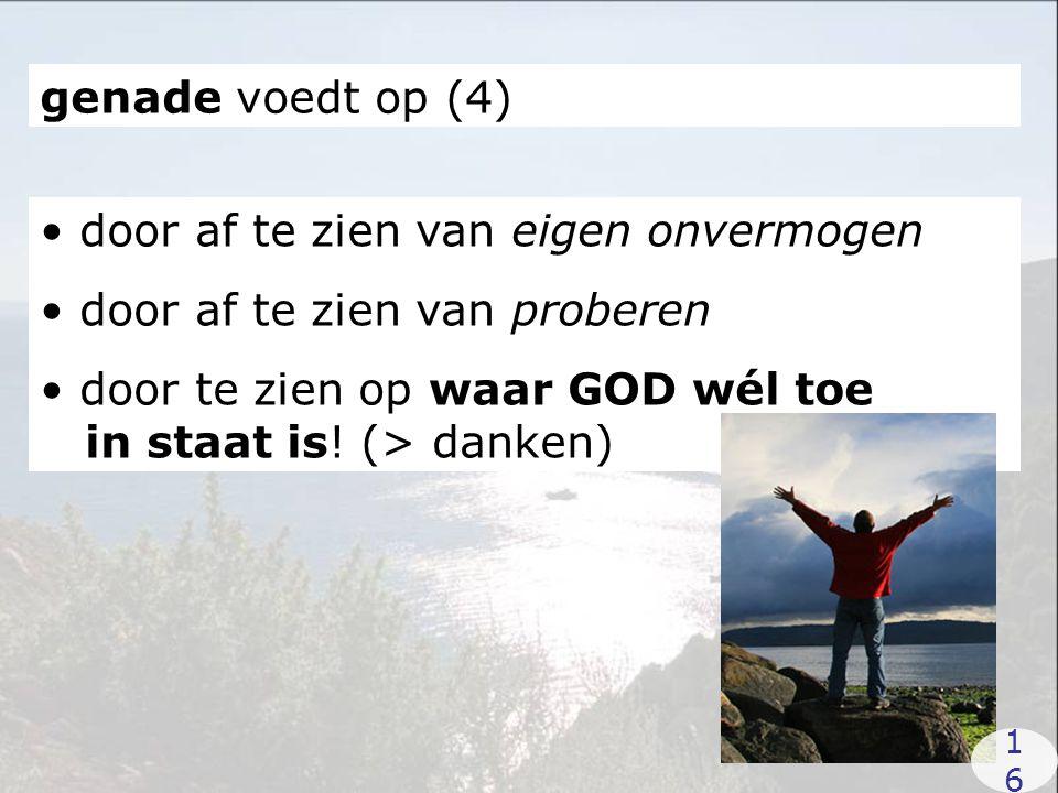 genade voedt op (4) door af te zien van eigen onvermogen door af te zien van proberen door te zien op waar GOD wél toe in staat is! (> danken) 1616
