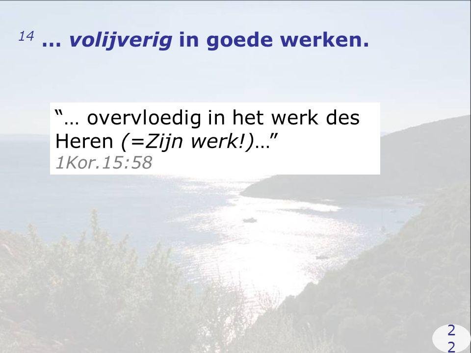 14 … volijverig in goede werken. … overvloedig in het werk des Heren (=Zijn werk!)… 1Kor.15:58 2