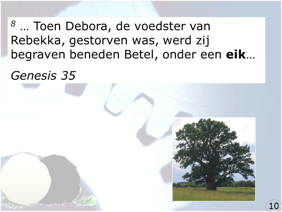 8 … Toen Debora, de voedster van Rebekka, gestorven was, werd zij begraven beneden Betel, onder een eik… Genesis 35 10