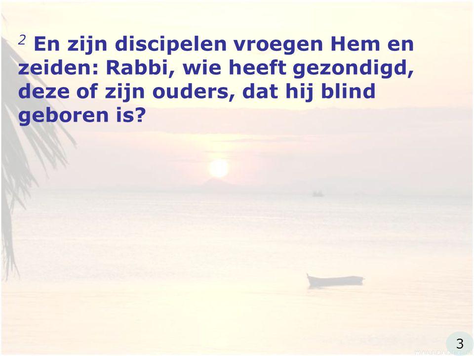 2 En zijn discipelen vroegen Hem en zeiden: Rabbi, wie heeft gezondigd, deze of zijn ouders, dat hij blind geboren is.