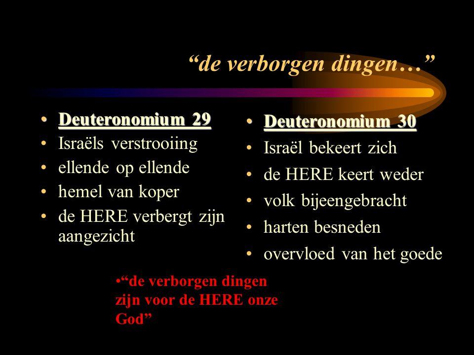 de verborgen dingen… Deuteronomium 29Deuteronomium 29 Israëls verstrooiing ellende op ellende hemel van koper de HERE verbergt zijn aangezicht Deuteronomium 30 Deuteronomium 30 Israël bekeert zich de HERE keert weder volk bijeengebracht harten besneden overvloed van het goede de verborgen dingen zijn voor de HERE onze God