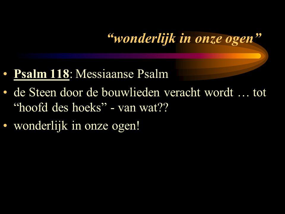 wonderlijk in onze ogen Psalm 118: Messiaanse Psalm de Steen door de bouwlieden veracht wordt … tot hoofd des hoeks - van wat?.