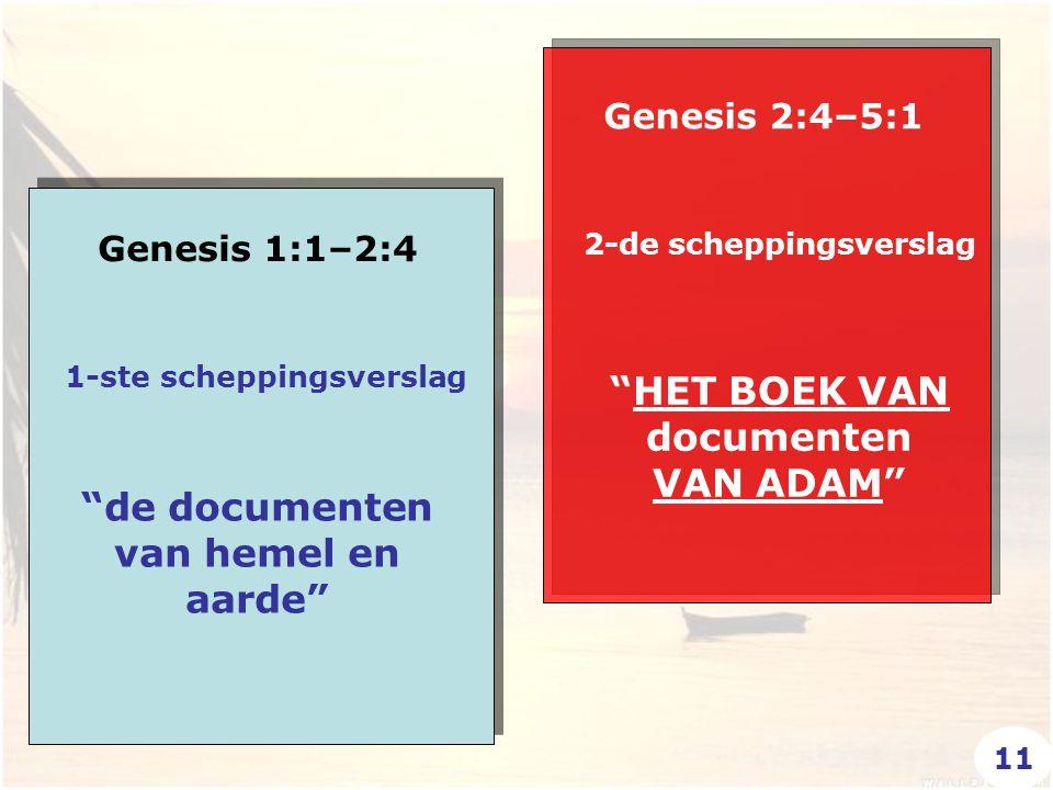 Genesis 1:1–2:4 Genesis 2:4–5:1 HET BOEK VAN documenten VAN ADAM de documenten van hemel en aarde 1-ste scheppingsverslag 2-de scheppingsverslag 11