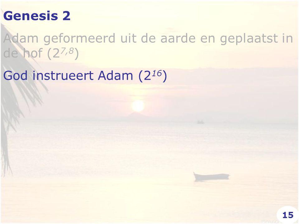 Genesis 2 Adam geformeerd uit de aarde en geplaatst in de hof (2 7,8 ) God instrueert Adam (2 16 ) 15