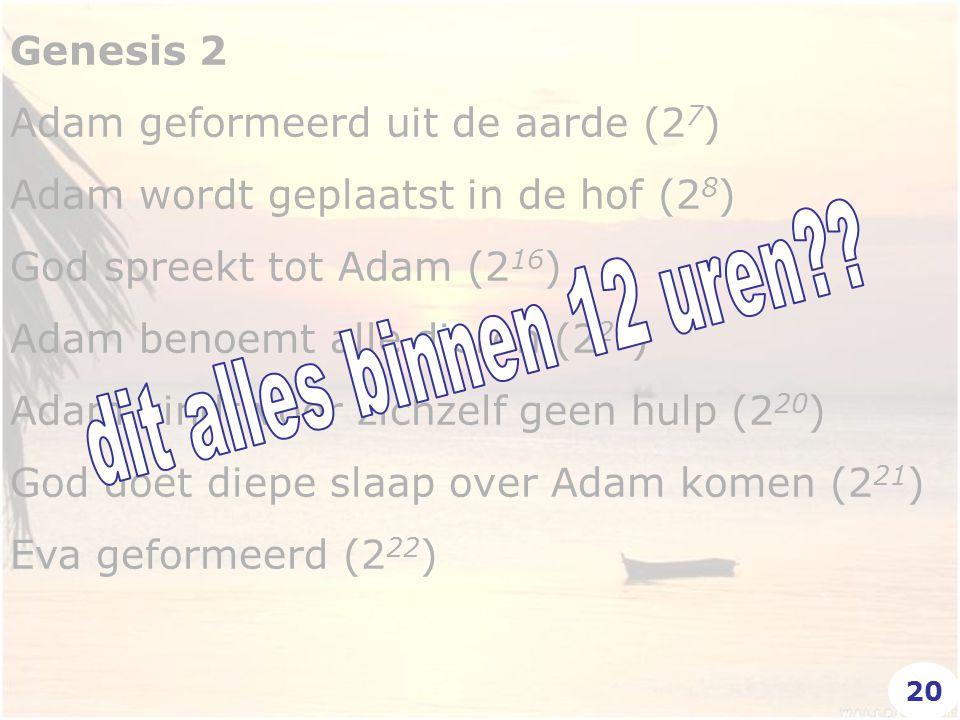 Genesis 2 Adam geformeerd uit de aarde (2 7 ) Adam wordt geplaatst in de hof (2 8 ) God spreekt tot Adam (2 16 ) Adam benoemt alle dieren (2 20 ) Adam vindt voor zichzelf geen hulp (2 20 ) God doet diepe slaap over Adam komen (2 21 ) Eva geformeerd (2 22 ) 20