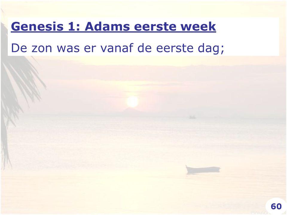Genesis 1: Adams eerste week De zon was er vanaf de eerste dag; 60