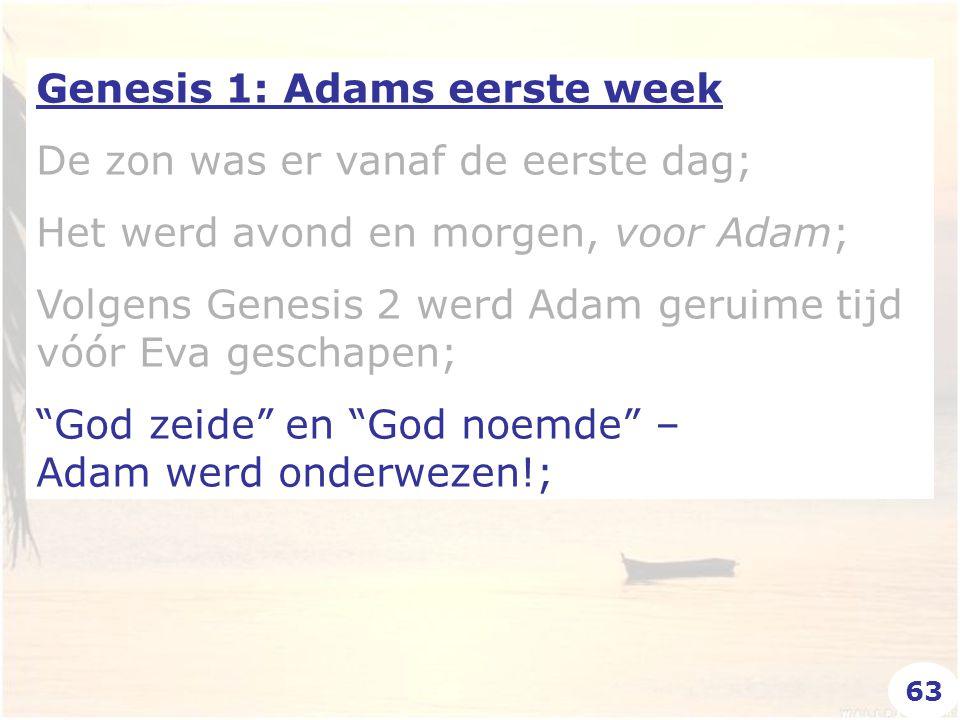 Genesis 1: Adams eerste week De zon was er vanaf de eerste dag; Het werd avond en morgen, voor Adam; Volgens Genesis 2 werd Adam geruime tijd vóór Eva geschapen; God zeide en God noemde – Adam werd onderwezen!; 63
