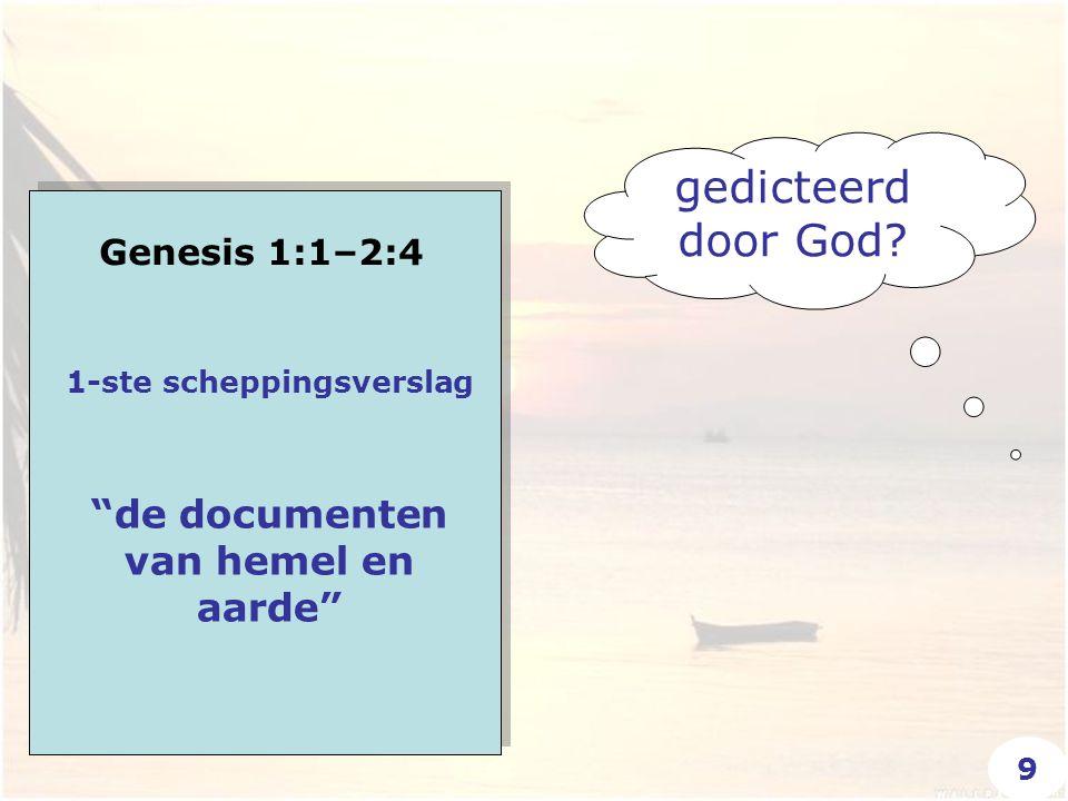 """Genesis 1:1–2:4 """"de documenten van hemel en aarde"""" 1-ste scheppingsverslag gedicteerd door God? 9"""