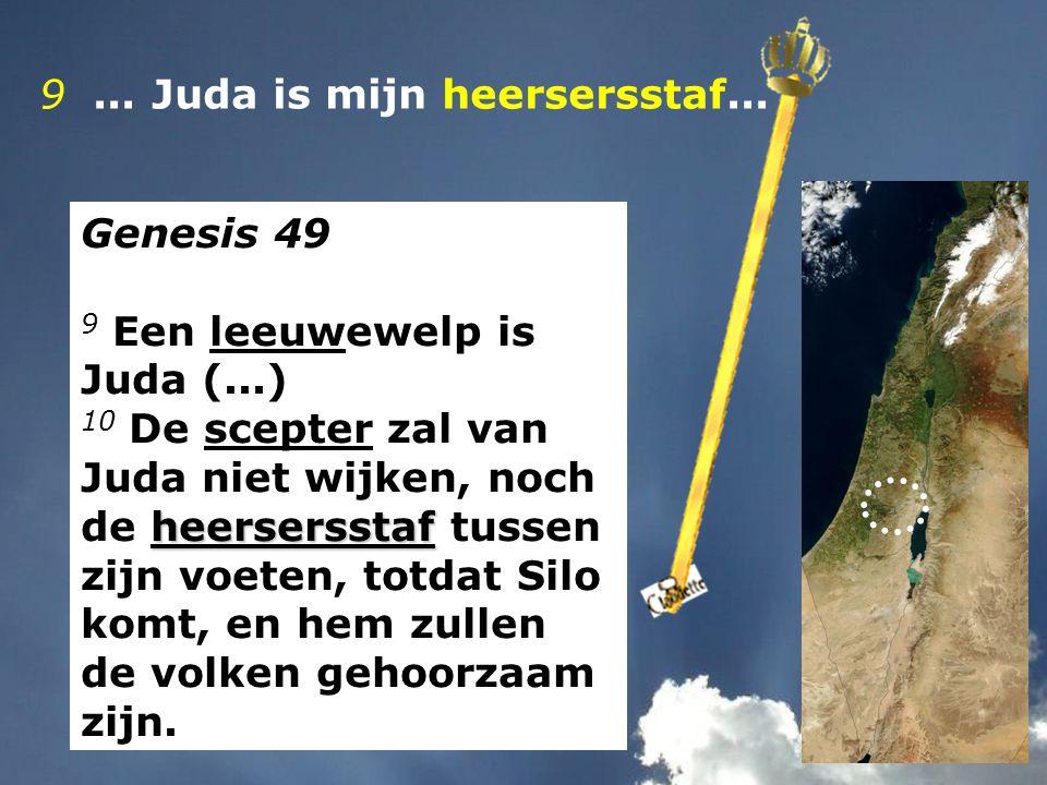 9... Juda is mijn heersersstaf... Genesis 49 9 Een leeuwewelp is Juda (...) heersersstaf 10 De scepter zal van Juda niet wijken, noch de heersersstaf