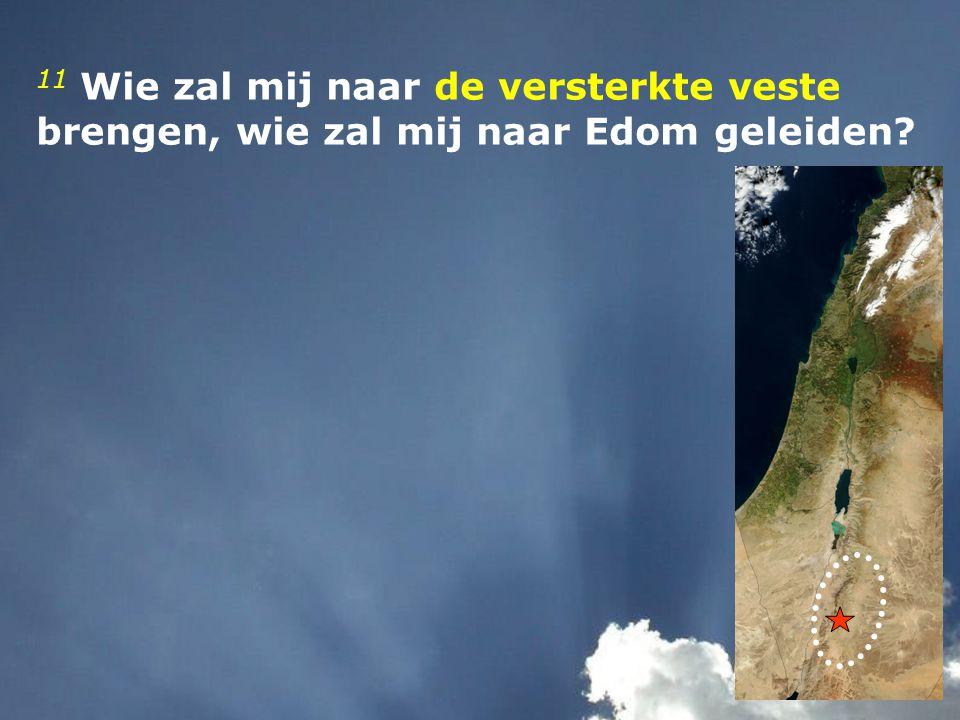 11 Wie zal mij naar de versterkte veste brengen, wie zal mij naar Edom geleiden?