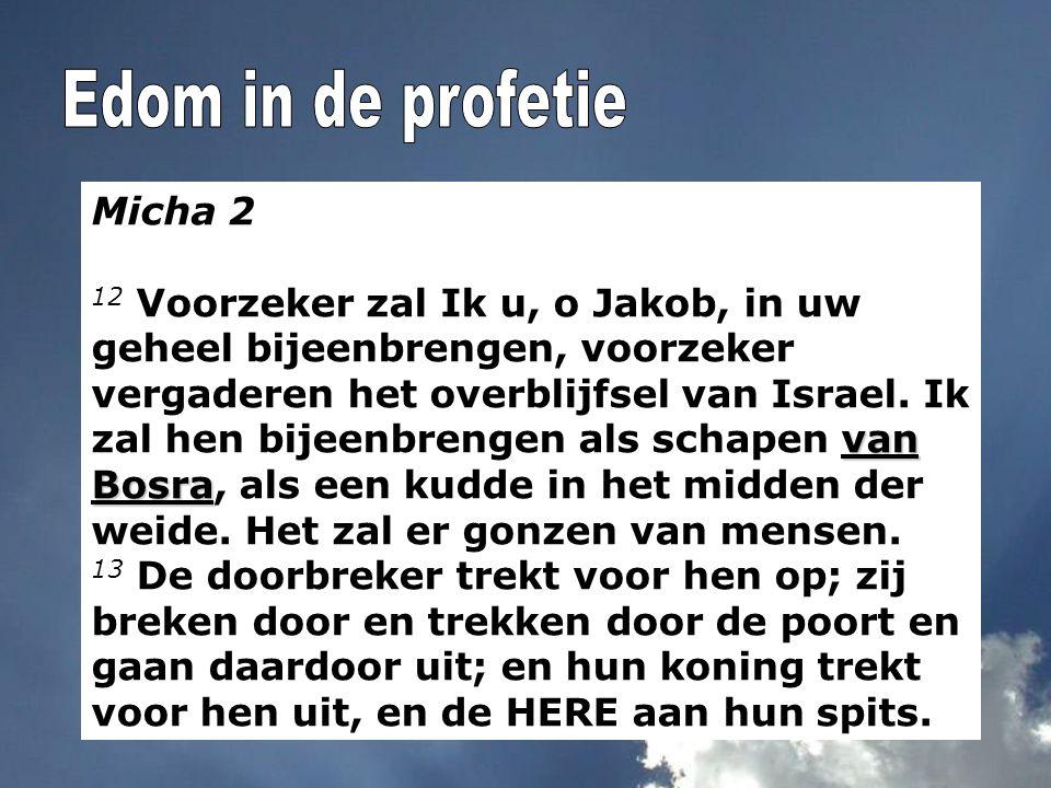 Micha 2 van Bosra 12 Voorzeker zal Ik u, o Jakob, in uw geheel bijeenbrengen, voorzeker vergaderen het overblijfsel van Israel. Ik zal hen bijeenbreng