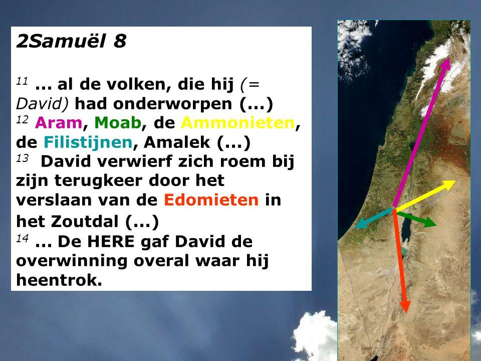 2Samuël 8 11... al de volken, die hij (= David) had onderworpen (...) 12 Aram, Moab, de Ammonieten, de Filistijnen, Amalek (...) 13 David verwierf zic