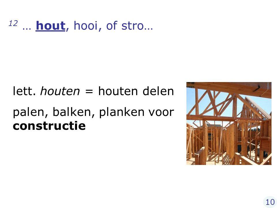 12 … hout, hooi, of stro… lett. houten = houten delen palen, balken, planken voor constructie 10