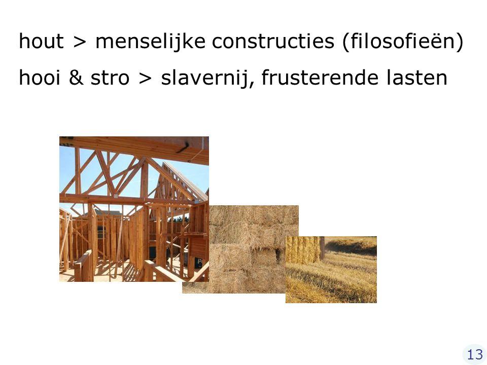 hout > menselijke constructies (filosofieën) hooi & stro > slavernij, frusterende lasten 13