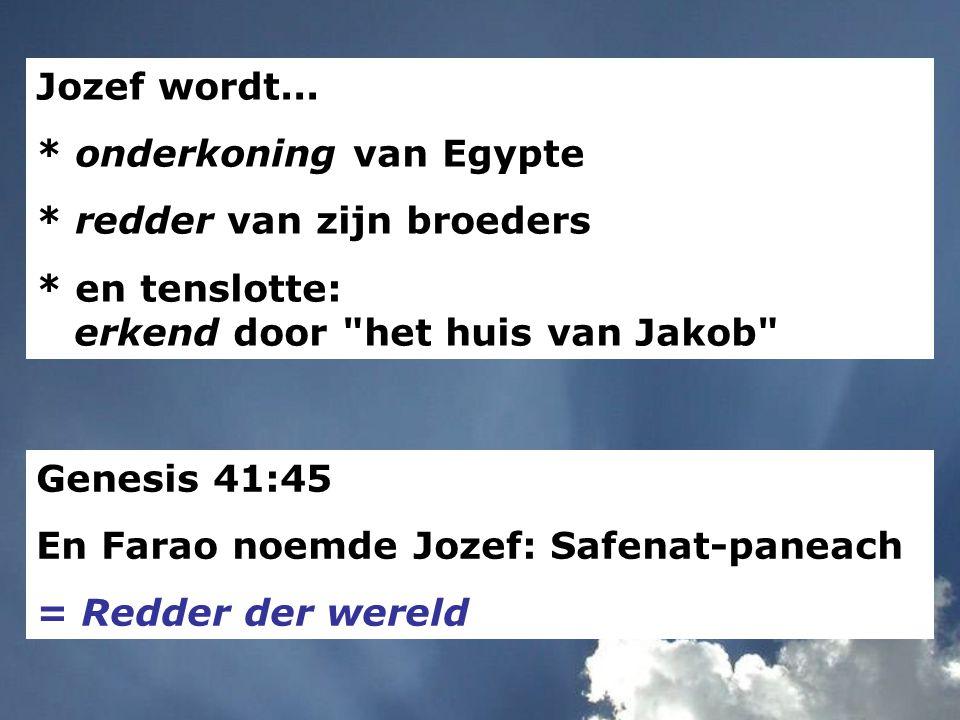 Jozef wordt... * onderkoning van Egypte * redder van zijn broeders * en tenslotte: erkend door