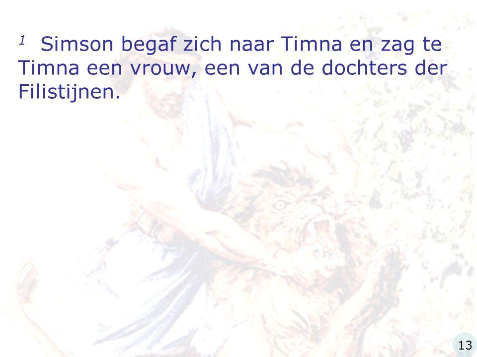 1 Simson begaf zich naar Timna en zag te Timna een vrouw, een van de dochters der Filistijnen. 13