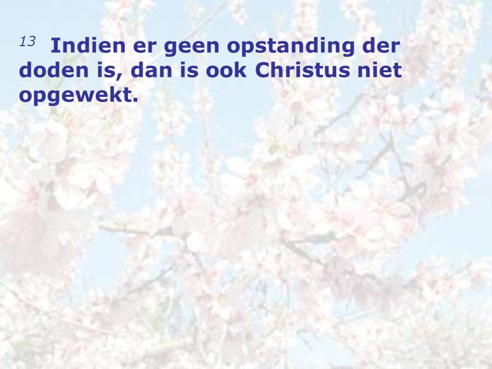 13 Indien er geen opstanding der doden is, dan is ook Christus niet opgewekt.