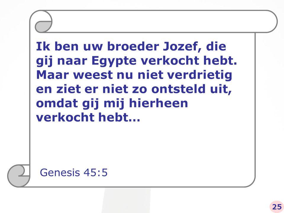 Ik ben uw broeder Jozef, die gij naar Egypte verkocht hebt.