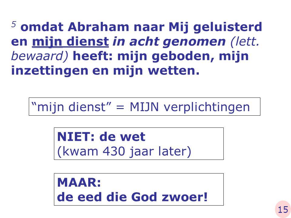 """mijn 5 omdat Abraham naar Mij geluisterd en mijn dienst in acht genomen (lett. bewaard) heeft: mijn geboden, mijn inzettingen en mijn wetten. """"mijn di"""