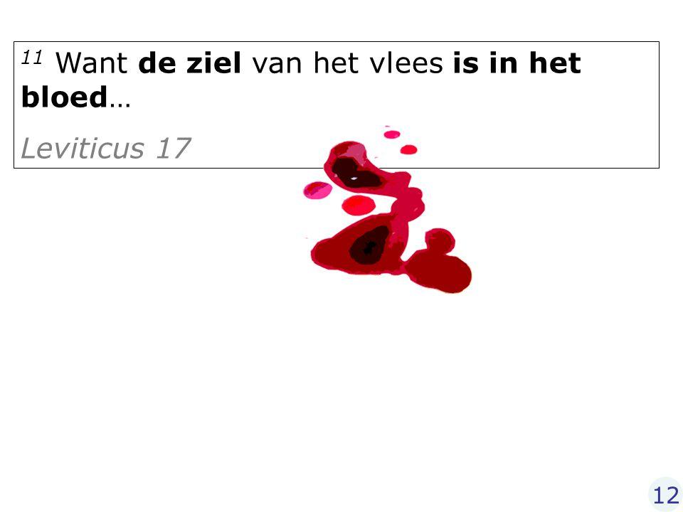 11 Want de ziel van het vlees is in het bloed… Leviticus 17 12