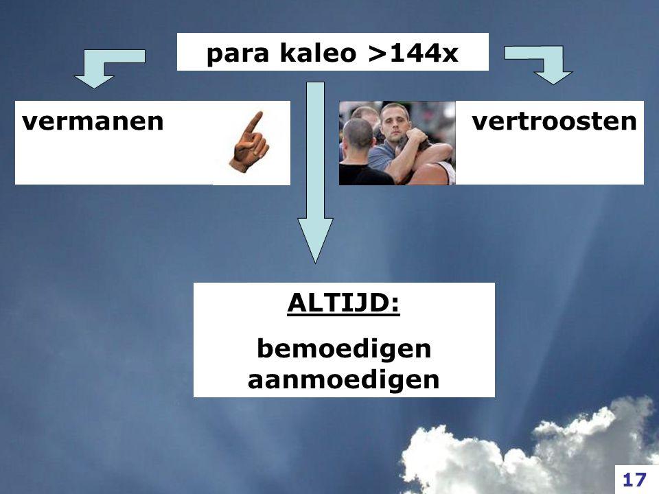vermanen para kaleo >144x vertroosten 17 ALTIJD: bemoedigen aanmoedigen