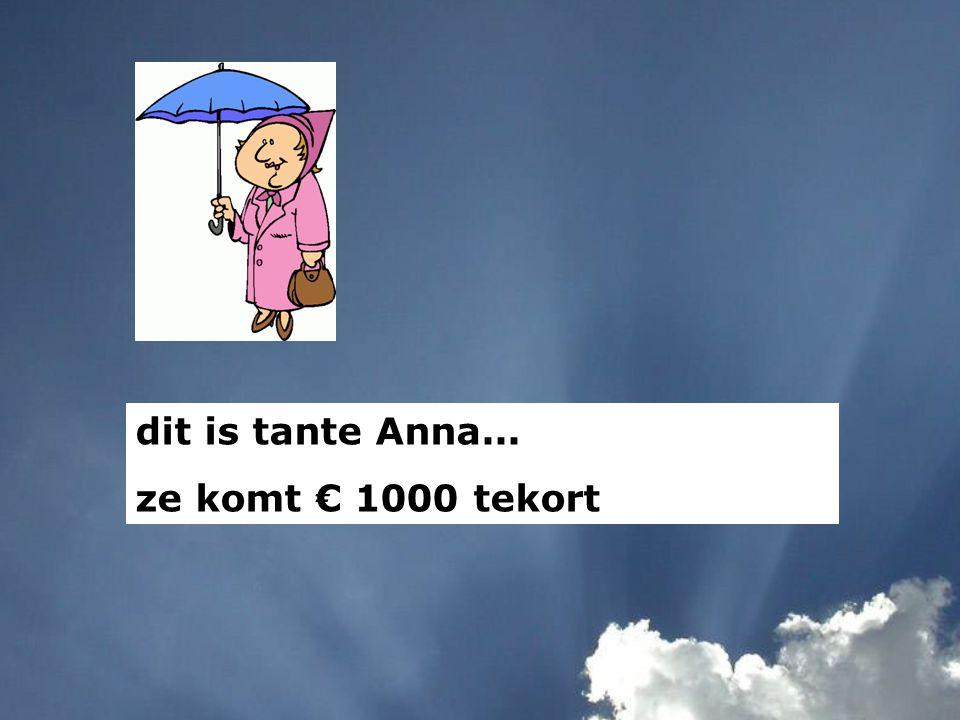 dit is tante Anna... ze komt € 1000 tekort