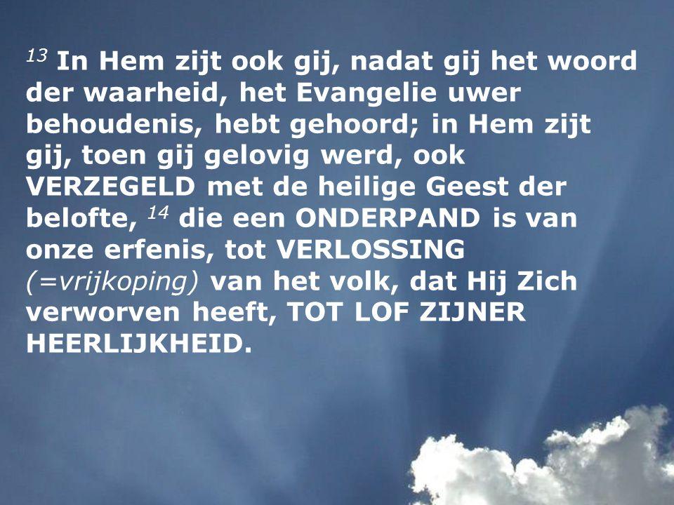 13 In Hem zijt ook gij, nadat gij het woord der waarheid, het Evangelie uwer behoudenis, hebt gehoord; in Hem zijt gij, toen gij gelovig werd, ook VER