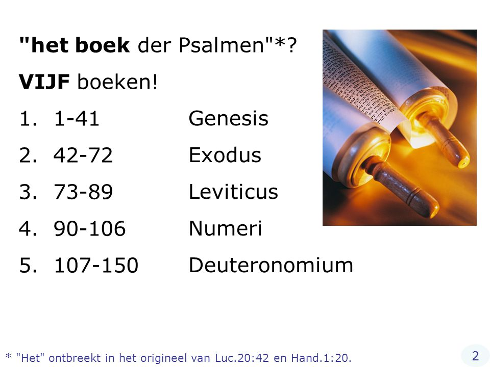 Het christendom erkent algemeen 66 boeken als behorende tot de Bijbel… Psalmen NIET één boek maar vijf boeken.