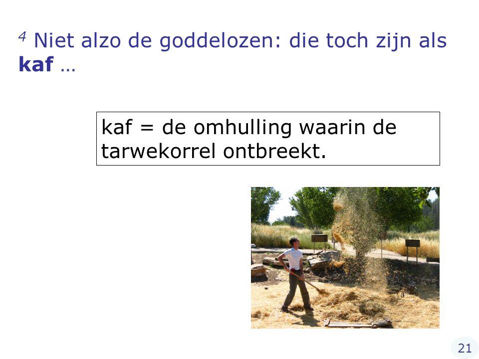 4 Niet alzo de goddelozen: die toch zijn als kaf … 21 kaf = de omhulling waarin de tarwekorrel ontbreekt.