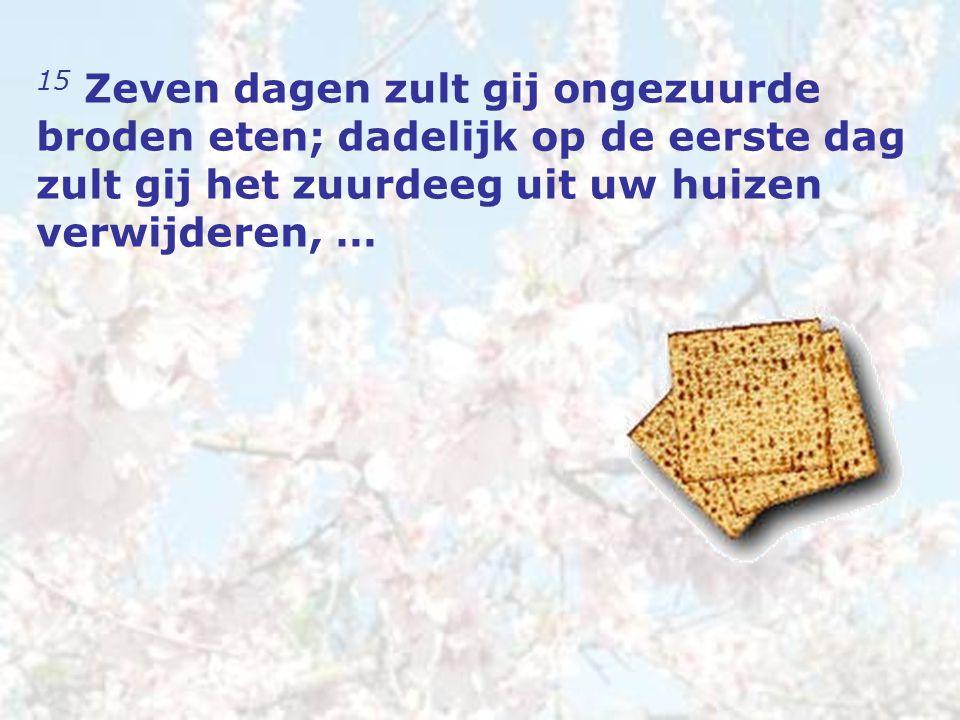 15 … want ieder die iets gezuurds eet, van de eerste tot de zevende dag, zo iemand zal uit Israël worden uitgeroeid.