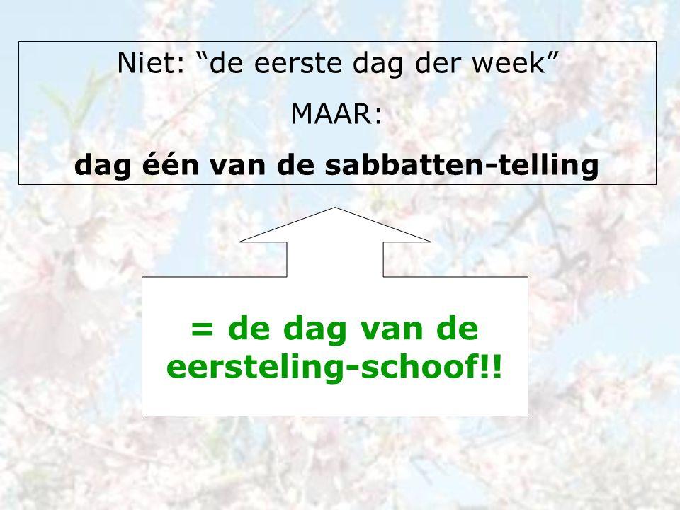 """Niet: """"de eerste dag der week"""" MAAR: dag één van de sabbatten-telling = de dag van de eersteling-schoof!!"""