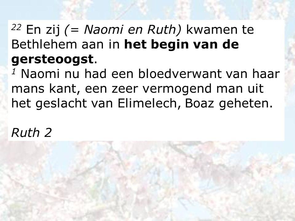 22 En zij (= Naomi en Ruth) kwamen te Bethlehem aan in het begin van de gersteoogst. 1 Naomi nu had een bloedverwant van haar mans kant, een zeer verm