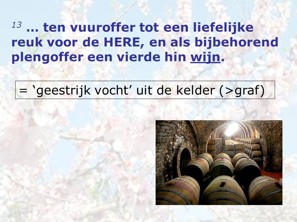 13 … ten vuuroffer tot een liefelijke reuk voor de HERE, en als bijbehorend plengoffer een vierde hin wijn. = 'geestrijk vocht' uit de kelder (>graf)