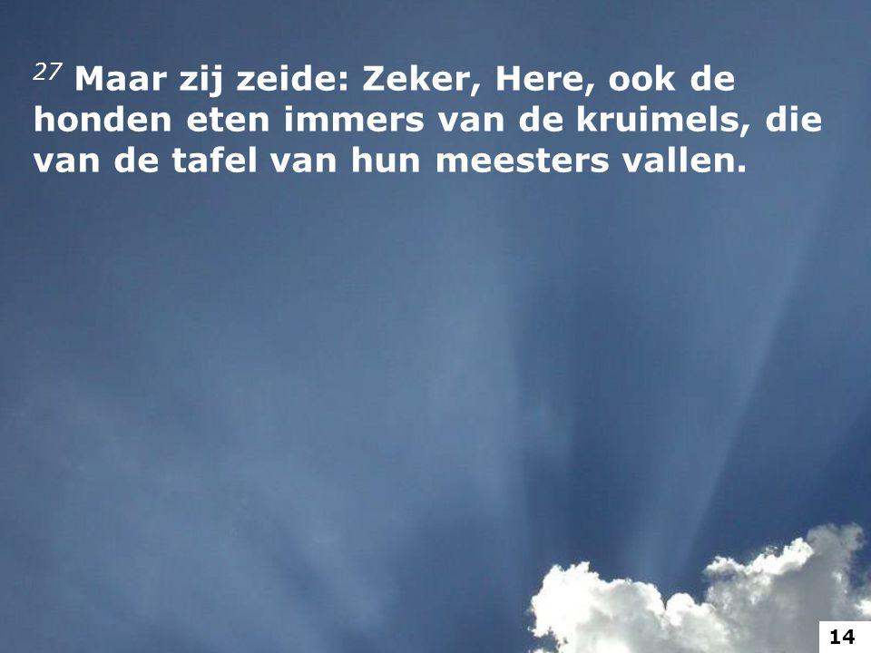 27 Maar zij zeide: Zeker, Here, ook de honden eten immers van de kruimels, die van de tafel van hun meesters vallen. 14