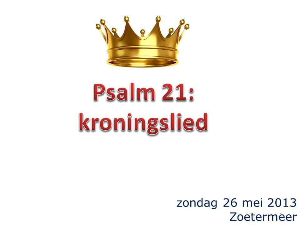 6 Groot is zijn eer door uw heil, majesteit en luister hebt Gij hem toebedeeld; Psalm 21 7 Gij hebt hem voor een korte tijd beneden de engelen gesteld, met heerlijkheid en eer hebt Gij hem gekroond, 8 alle dingen hebt Gij onder zijn voeten onderworpen.