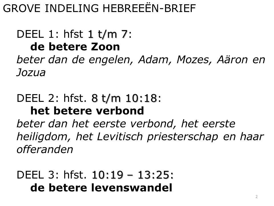 2 GROVE INDELING HEBREEËN-BRIEF 1 t/m 7 DEEL 1: hfst 1 t/m 7: de betere Zoon beter dan de engelen, Adam, Mozes, Aäron en Jozua 8 t/m 10:18 DEEL 2: hfst.