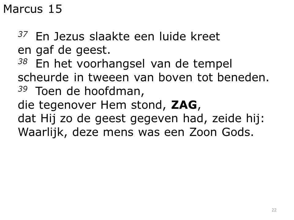 22 Marcus 15 37 En Jezus slaakte een luide kreet en gaf de geest.