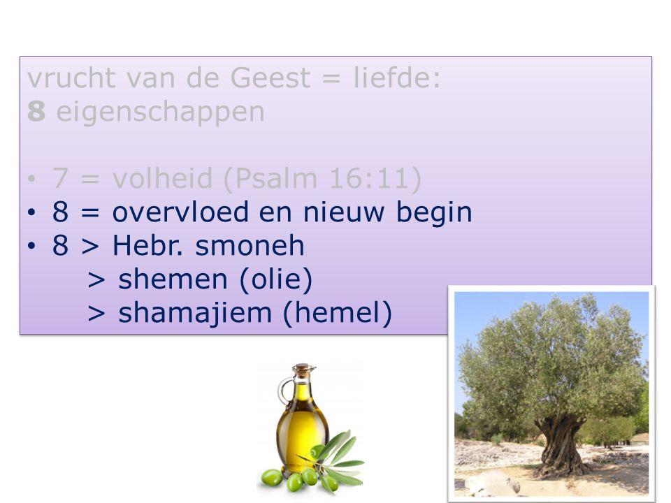 101 vrucht van de Geest = liefde: 8 eigenschappen 7 = volheid (Psalm 16:11) 8 = overvloed en nieuw begin 8 > Hebr. smoneh > shemen (olie) > shamajiem