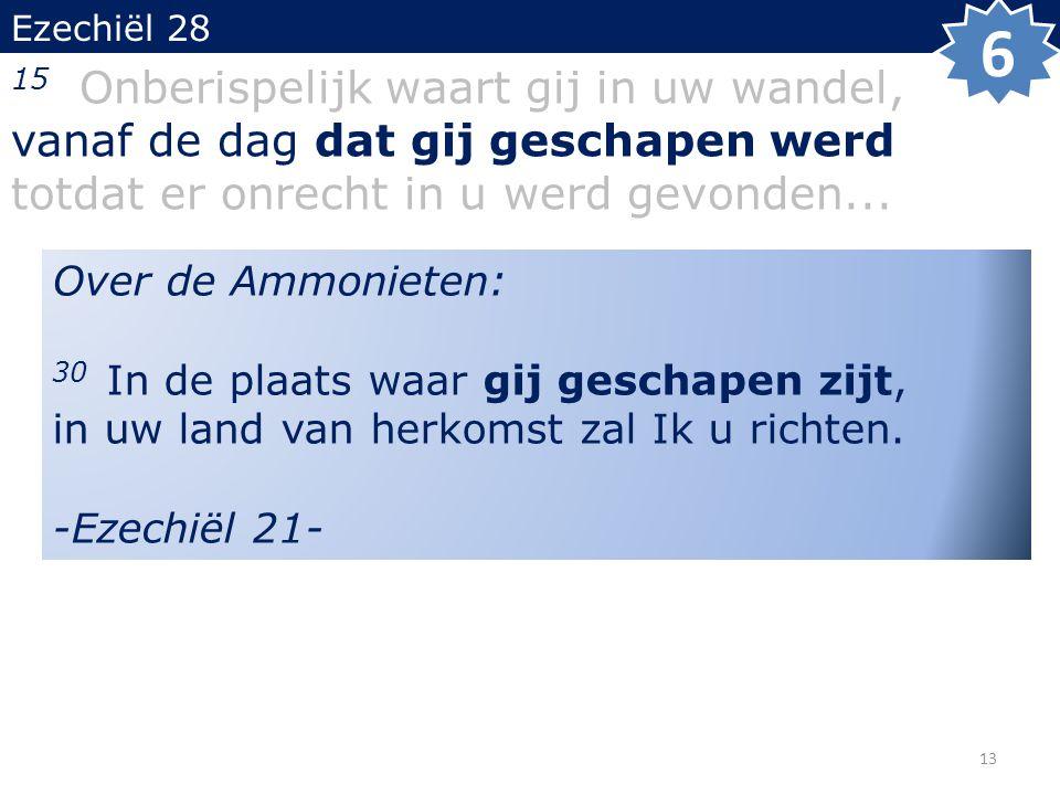 Ezechiël 28 15 Onberispelijk waart gij in uw wandel, vanaf de dag dat gij geschapen werd totdat er onrecht in u werd gevonden...