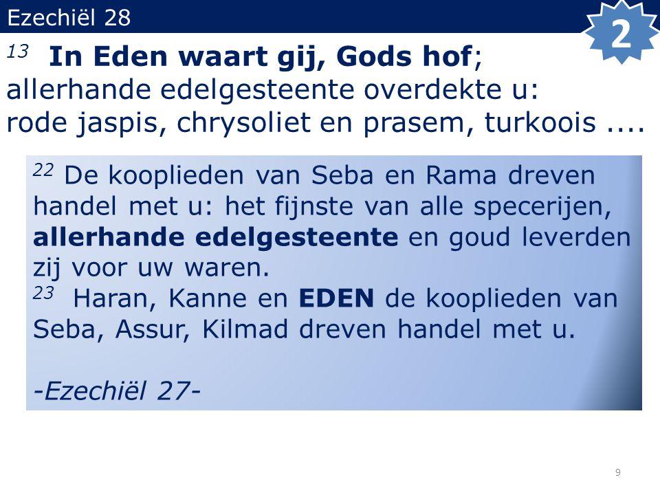 Ezechiël 28 13 In Eden waart gij, Gods hof; allerhande edelgesteente overdekte u: rode jaspis, chrysoliet en prasem, turkoois....