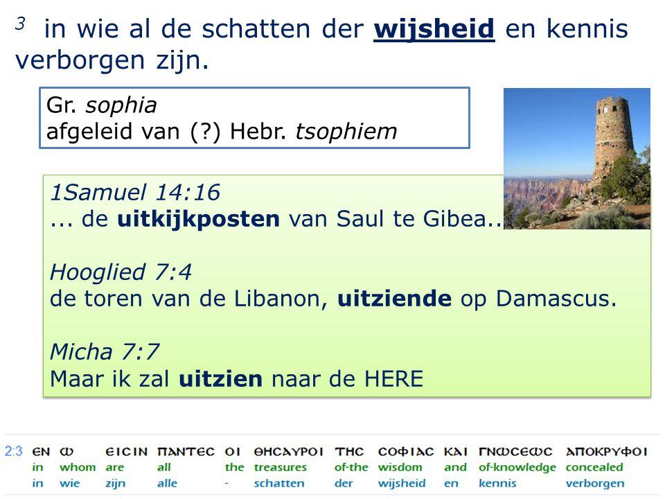 17 3 in wie al de schatten der wijsheid en kennis verborgen zijn.