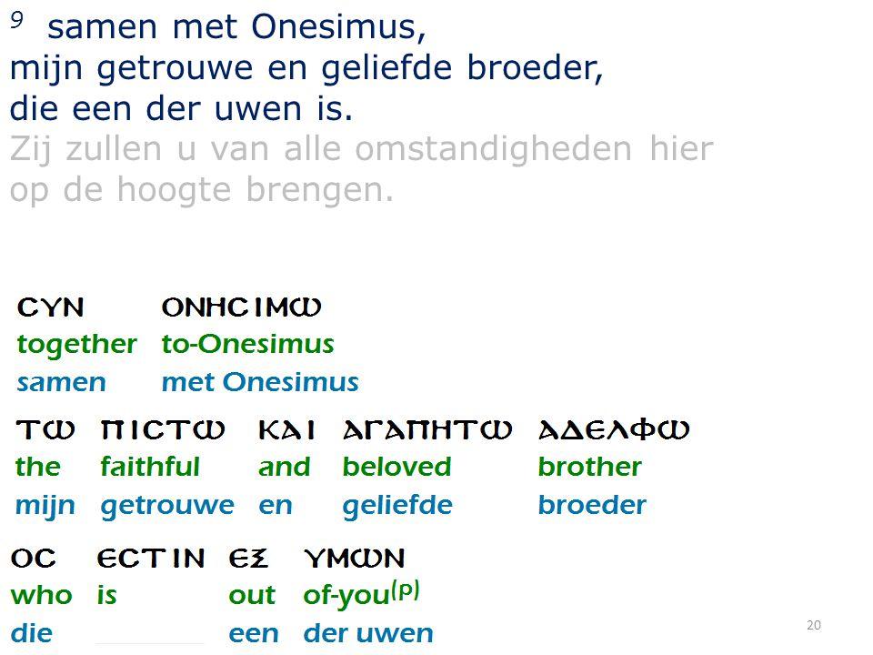 20 9 samen met Onesimus, mijn getrouwe en geliefde broeder, die een der uwen is. Zij zullen u van alle omstandigheden hier op de hoogte brengen.