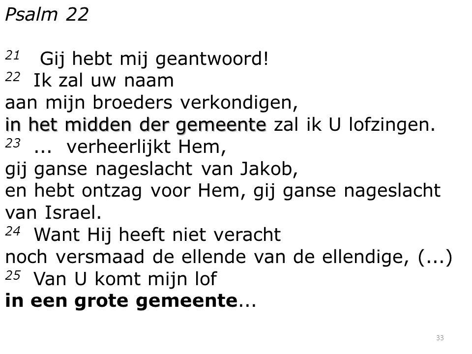 Psalm 22 21 Gij hebt mij geantwoord! in het midden der gemeente 22 Ik zal uw naam aan mijn broeders verkondigen, in het midden der gemeente zal ik U l