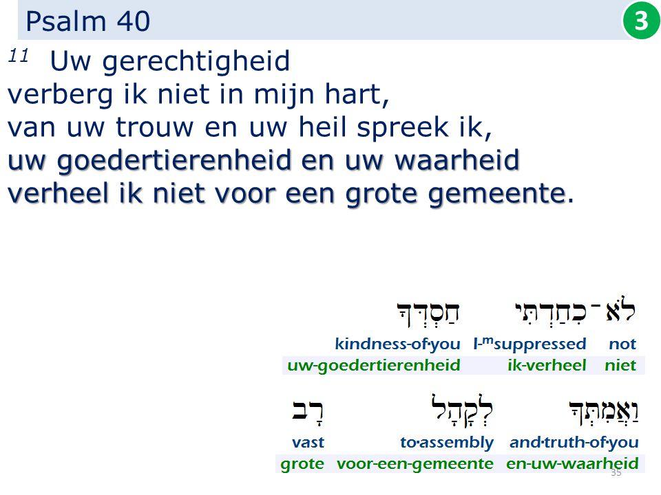 Psalm 40 11 Uw gerechtigheid verberg ik niet in mijn hart, van uw trouw en uw heil spreek ik, uw goedertierenheid en uw waarheid verheel ik niet voor