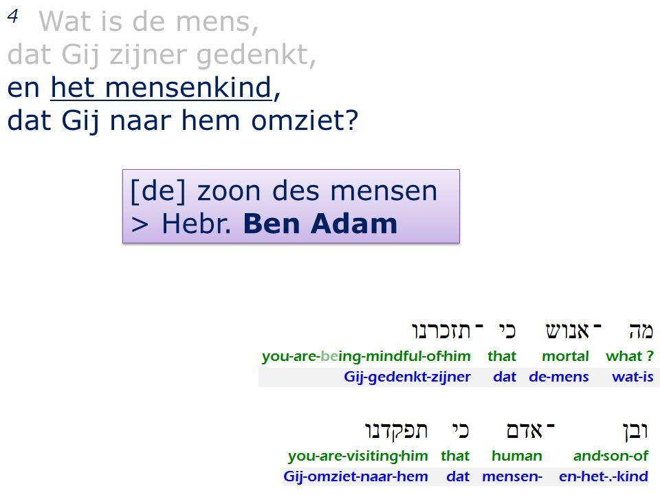 4 Wat is de mens, dat Gij zijner gedenkt, en het mensenkind, dat Gij naar hem omziet? [de] zoon des mensen > Hebr. Ben Adam [de] zoon des mensen > Heb