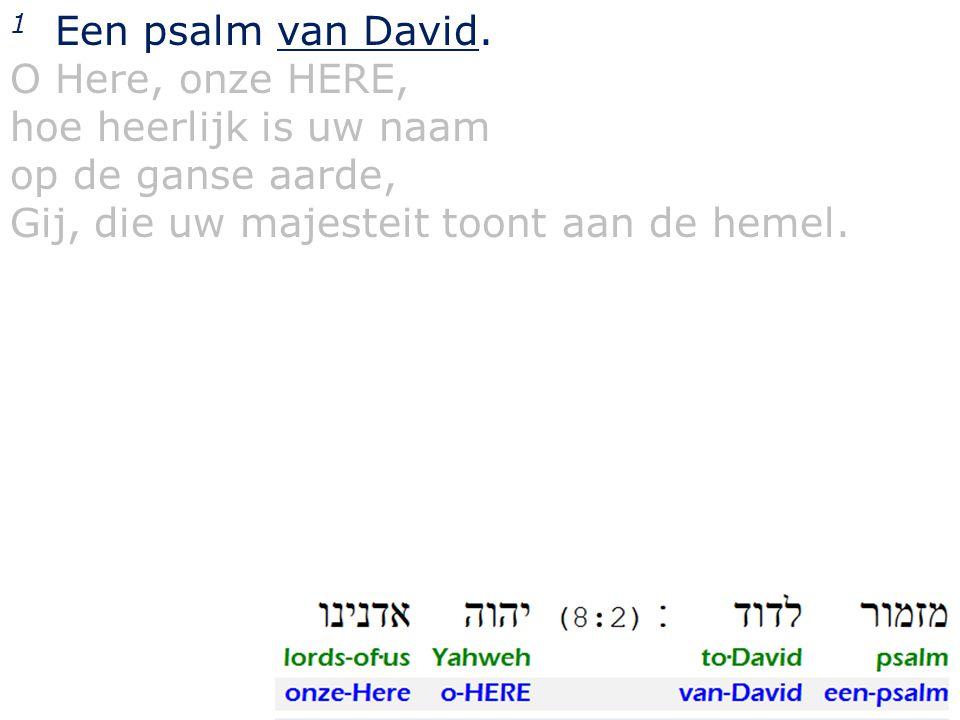 1 Een psalm van David. O Here, onze HERE, hoe heerlijk is uw naam op de ganse aarde, Gij, die uw majesteit toont aan de hemel.