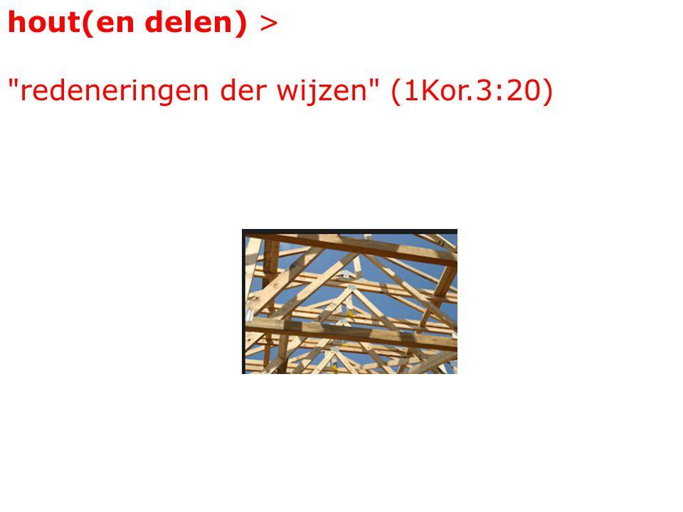 hout(en delen) > redeneringen der wijzen (1Kor.3:20)