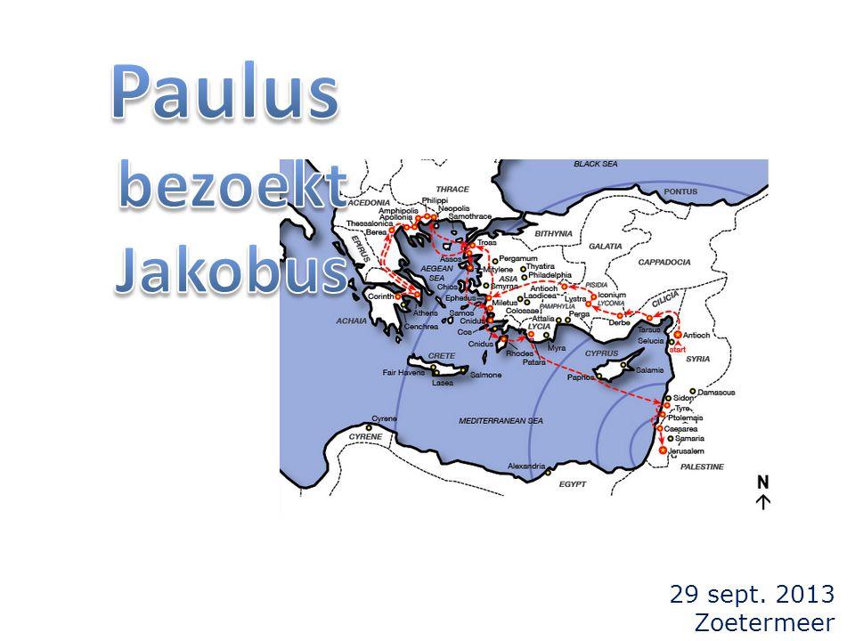 de vorige keer: twee ontmoetingen tussen Paulus en Jakobus beschreven in de Galaten-brief: 1)drie jaar na zijn roeping (1:19) 2)veertien jaar later (Gal.2:1-10)