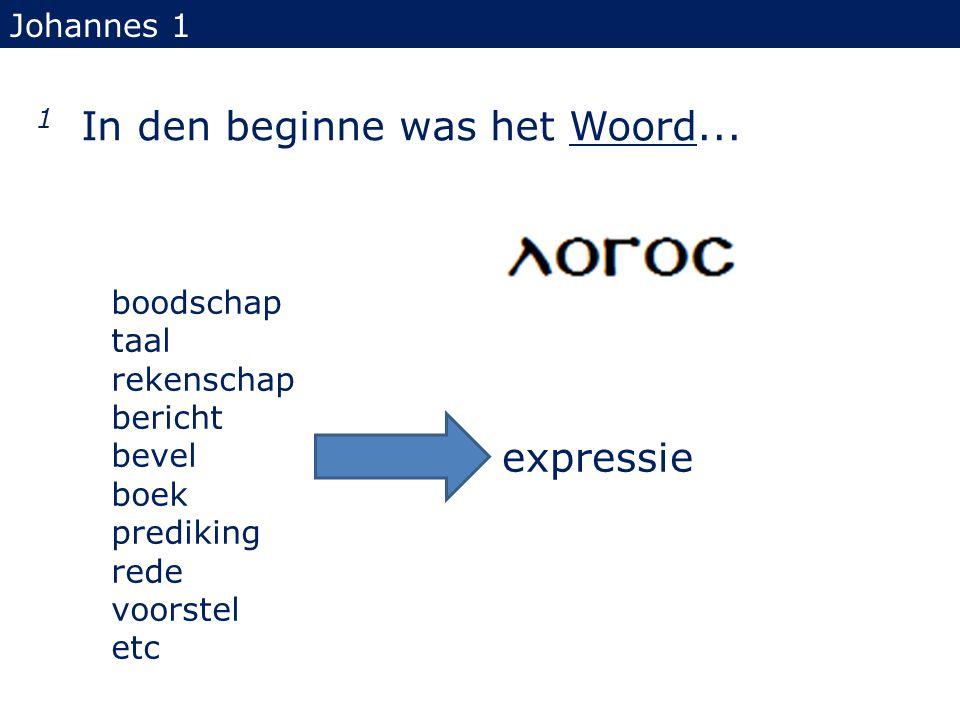 1 In den beginne was het Woord... Johannes 1 boodschap taal rekenschap bericht bevel boek prediking rede voorstel etc expressie