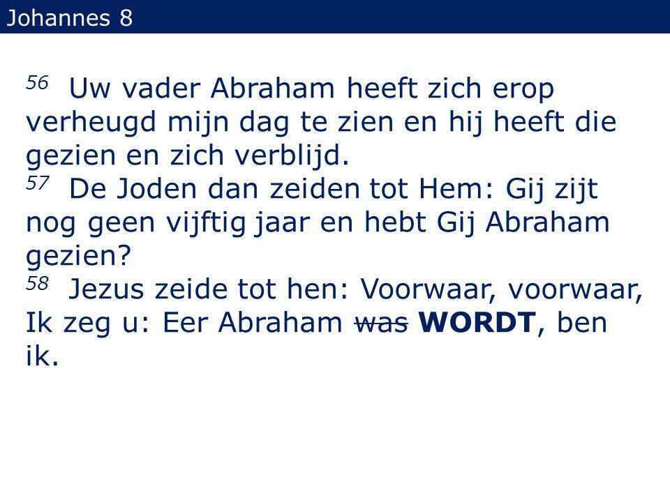 56 Uw vader Abraham heeft zich erop verheugd mijn dag te zien en hij heeft die gezien en zich verblijd. 57 De Joden dan zeiden tot Hem: Gij zijt nog g